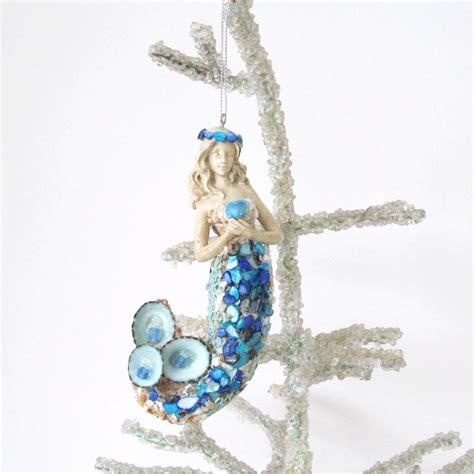 mermaid ornament seashells christmas tree coastal decor cobalt