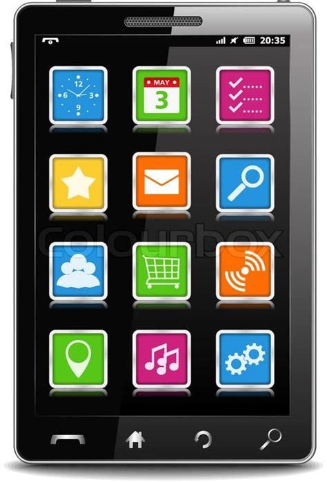 black modern smartphone with application icons on the modern black mobile phone with square icons on the screen