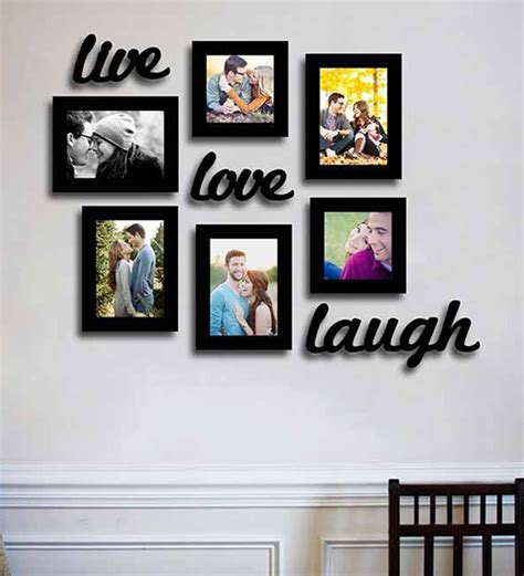 Photo Frames On Wall Buy Black Fibre Wood Live Love Laugh Wall With Plague
