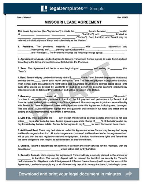 missouri residential leaserental agreement create
