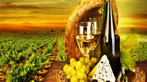 Full Hd Wallpaper Field Wine Grape Cheese Sunset Delicious