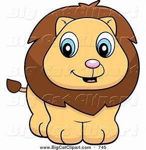 Big Cat Cartoon Vector Clipart of a Cute Lion Cub Smiling ...