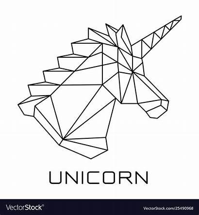 Geometric Vector Head Unicorns Polygonal Unicorn Royalty