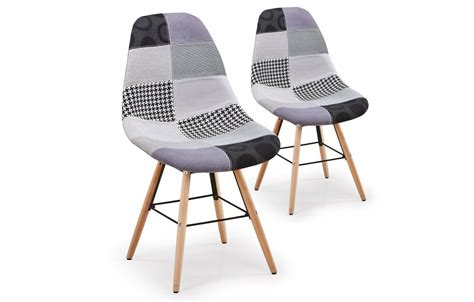 chaise grise tissu chaise grise scandinave design patchwork lot de 2