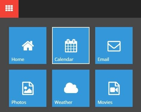 css template box text image windows 10 style animated navigation box with jquery and