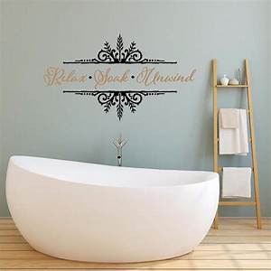relax soak unwind vinyl decal wall sticker words lettering With bathroom vinyl lettering wall art