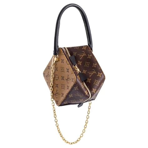 louis vuitton square chain small bag  monogram canvas