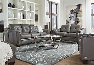 Cindy crawford home marcella gray leather 3 pc living room for Grey leather living room furniture