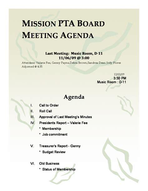 pta meeting agenda template  agenda templates ms