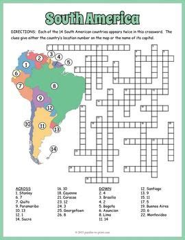 south america geography crossword puzzle tpt social