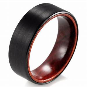 shardon 8mm black tungsten inner red wood ring with matte With wooden wedding rings for men