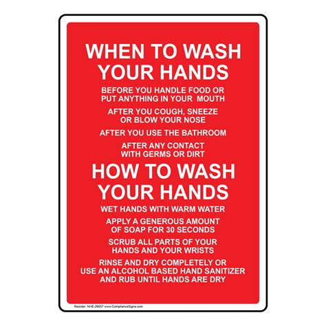 When To Wash Your Hands Sign Nhe26657 Hand Washing Wash Hands