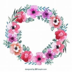 Corona floral en colores rosas Descargar Vectores gratis