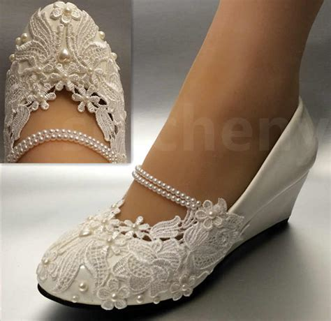 Wedding Shoes by White Light Ivory Lace Wedding Shoes Flat Low High Heel