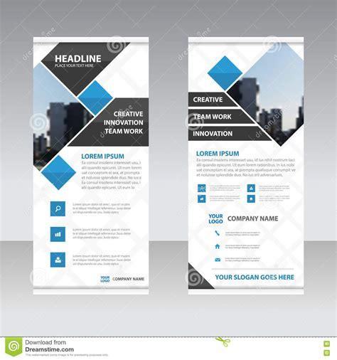 blue black square business roll  banner flat design