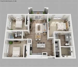 Three, Bedroom, Apartment, Floor, Plans