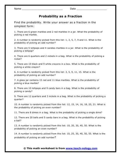 Probability Marbles Worksheet Worksheets For All  Download And Share Worksheets  Free On