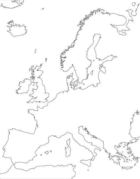 Landkarte von Europa (nur die Konturen, unbeschriftet ...