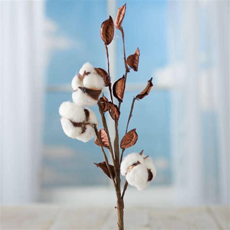 artificial cotton plant spray picks  stems floral