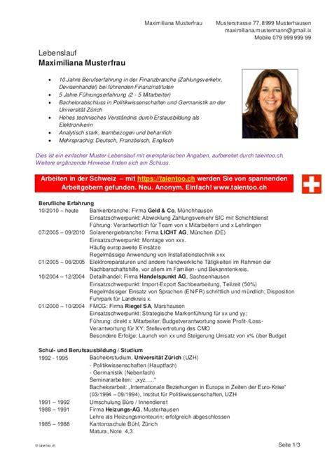 Lebenslauf Vorlage Schweiz by Lebenslauf Vorlage Schweiz Dokument Blogs