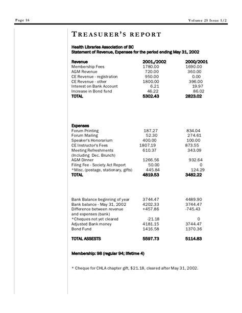 treasurer s report template non profit hlabc forum december 2002