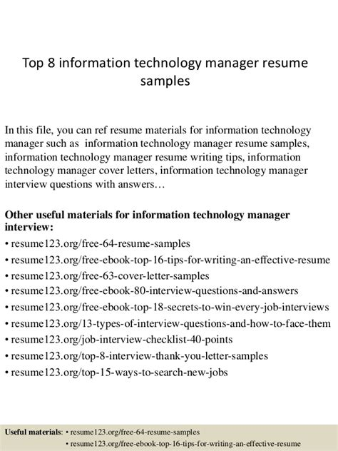 top 8 information technology manager resume sles