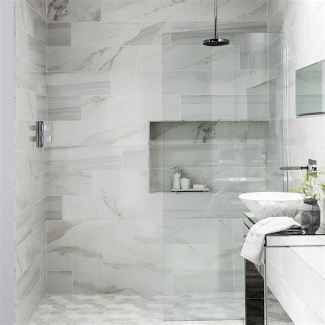 Modern Bathroom Marble Tile by These Faux Marble Tiles Got Everyone Talking