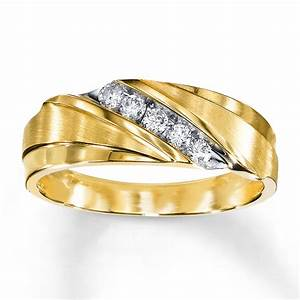 Kay Men39s Wedding Band 14 Ct Tw Diamonds 10K Yellow Gold