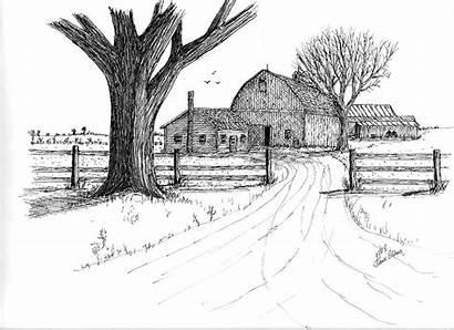 Farm Drawing Dairy Landscape Drawings Oak Sketch