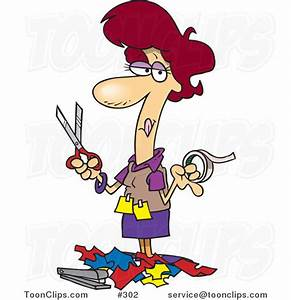 Cartoon Lady Holding Tape and Scissors and Standing in ...
