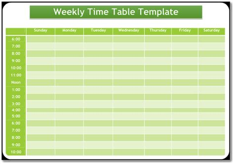 blank weekly timetable template word  format excel