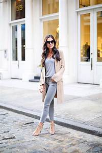 Grey skinny jeans with tan cashmere cardigan in Soho