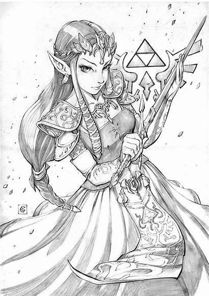 Zelda Princess Twilight Drawing Legend Coloring Pages
