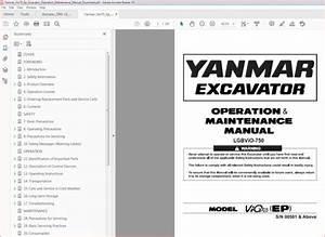 Yanmar Vio70 Ep Excavator Operation Maintenance Manual