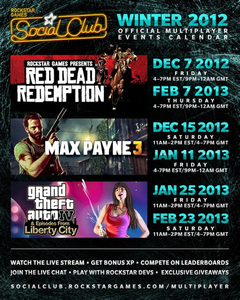 social club calendar winter red dead