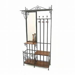 Vestiaire meuble d39entree fer forge bois 5119 for Porte d entrée alu avec meuble salle de bain fer forgé
