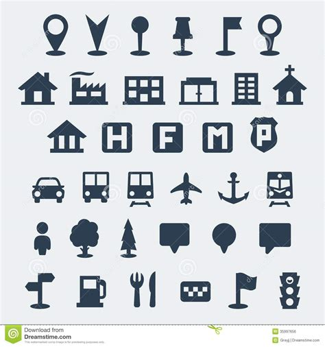 < previous 1 2 3 next >. Vector map icons set stock vector. Illustration of icon ...