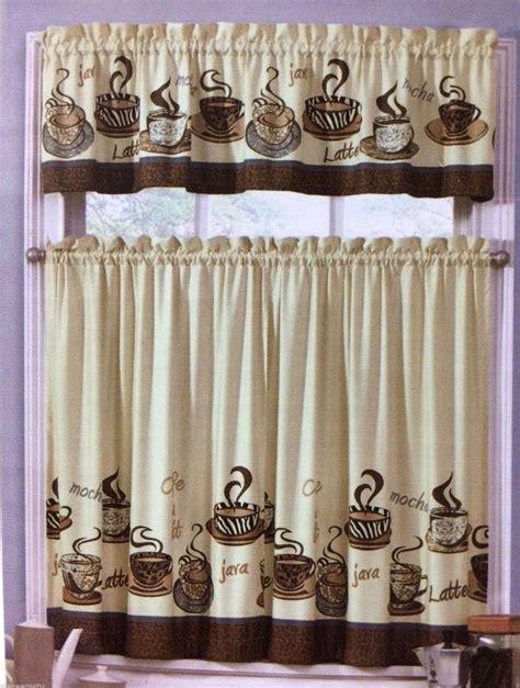 cafe java latte zebra animal print tiers valance set