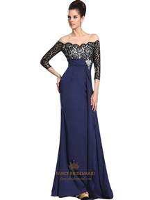 navy lace bridesmaid dress navy blue chiffon the shoulder lace bodice prom dress with sleeves fancy bridesmaid dresses