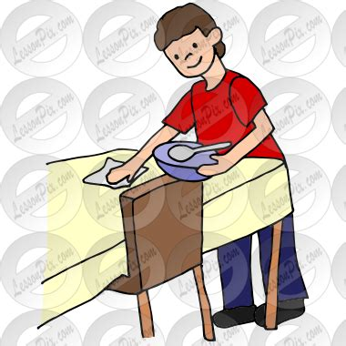 cleaning houses under the table plate clipart clearing table pencil and in color plate