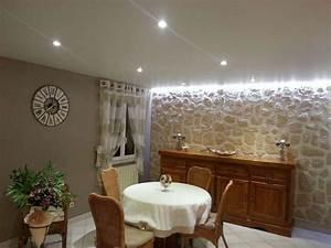 idee deco salon avec mur pierre fashion designs With idee deco mur cuisine ouverte