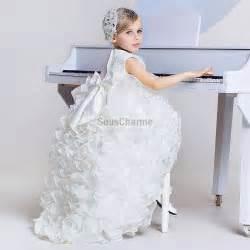 robe de mariage fille robe mariage enfant fille princesse pas cher en dentelle et jupe en tulle avec une succession