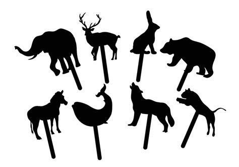 animal shadow puppet set free vector stock
