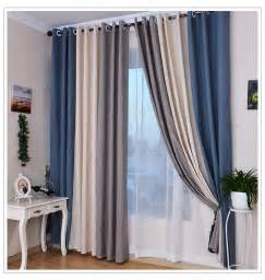 summer style linen curtains for living room blackout curtain white beige blue grey solid