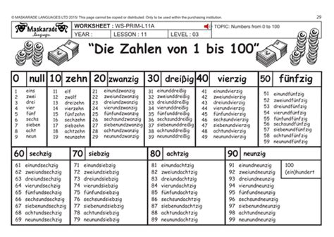 german ks2 level 3 ks3 year 7 practising numbers 1 to