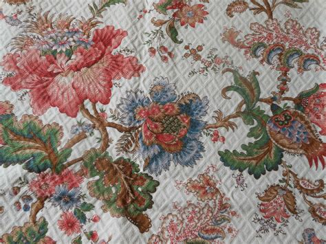 Floral Upholstery Fabric by Vintage Jacobean Indienne Floral Quilted Panel
