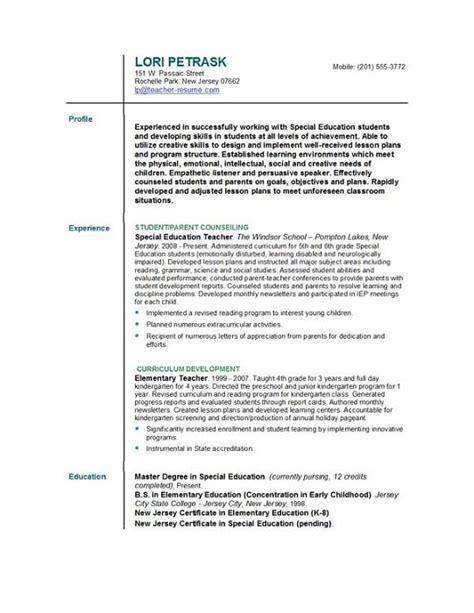 resume format for fresher english teachers resume format for teacher images