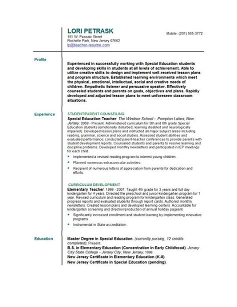 Exles Of Resumes For Teachers by Resume Format For Images