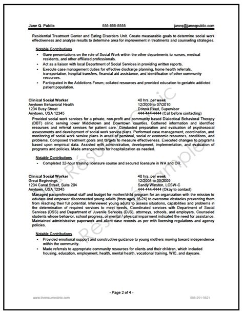 federal social worker resume writer sle the resume clinic