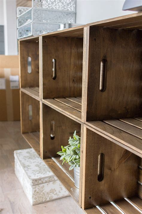 diy rustic crate storage wall  unfinished wood crates